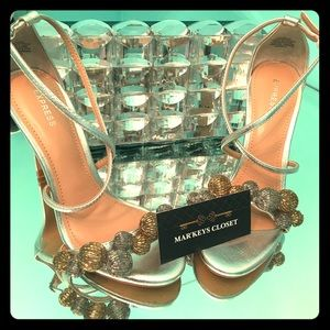Express Silver and Gold Open Toe High Heel Sandal!